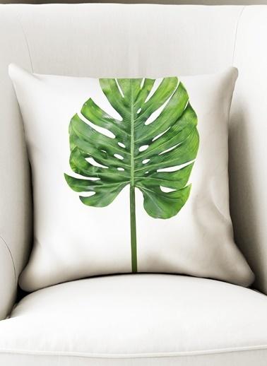 Lyn Home & Decor Yeşil İnce Uzun Yaprak Yastık Kılıfı Renkli